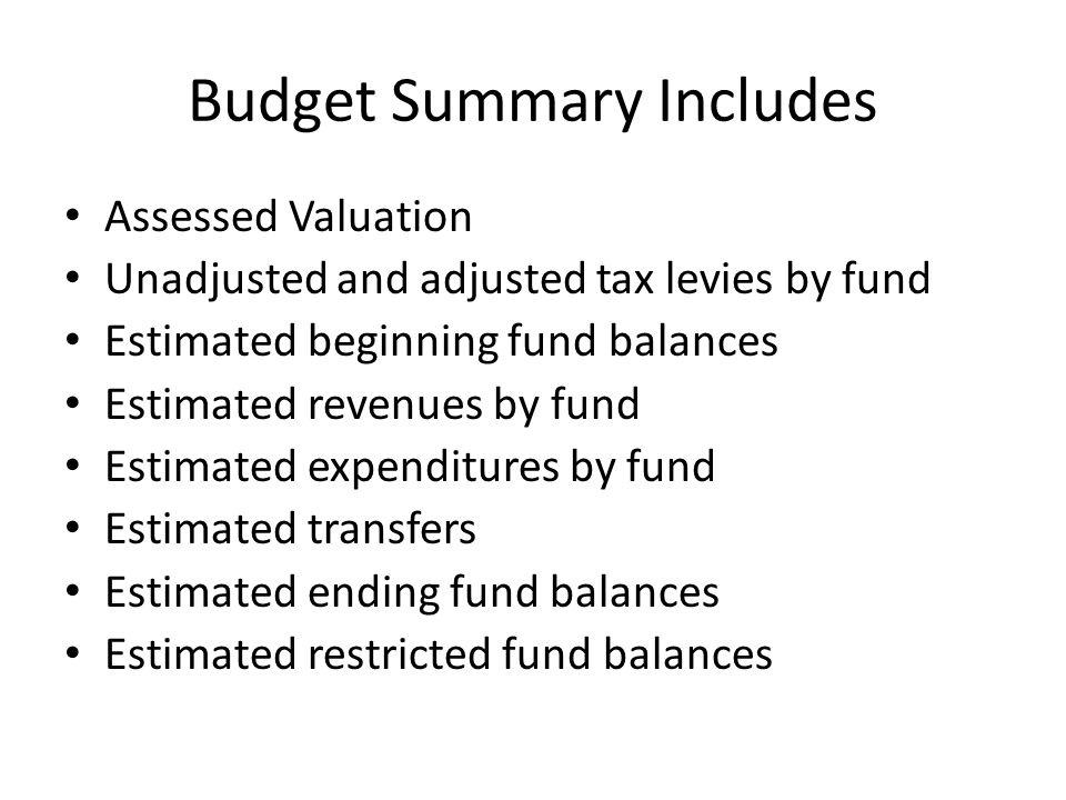 Budget Summary Includes Assessed Valuation Unadjusted and adjusted tax levies by fund Estimated beginning fund balances Estimated revenues by fund Estimated expenditures by fund Estimated transfers Estimated ending fund balances Estimated restricted fund balances