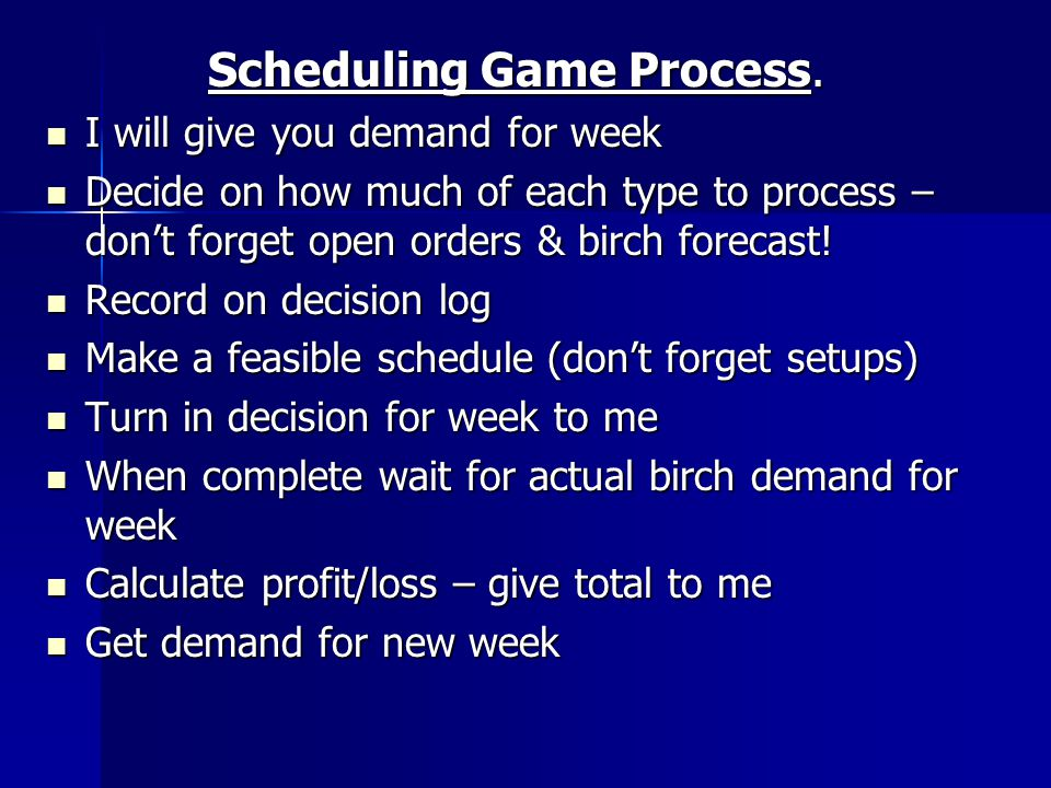 Scheduling Game Process.