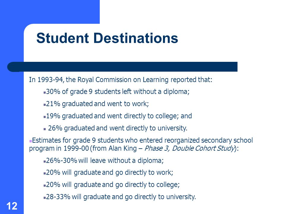 12 Student Destinations In , the Royal Commission on Learning reported that: 30% of grade 9 students left without a diploma; 21% graduated and went to work; 19% graduated and went directly to college; and 26% graduated and went directly to university.