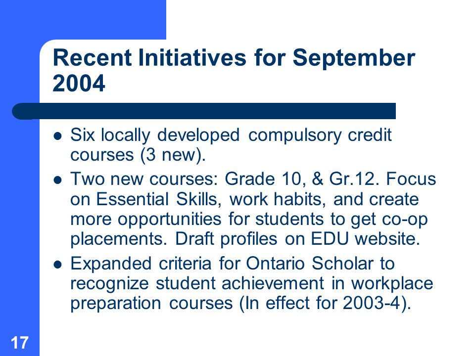 17 Recent Initiatives for September 2004 Six locally developed compulsory credit courses (3 new).