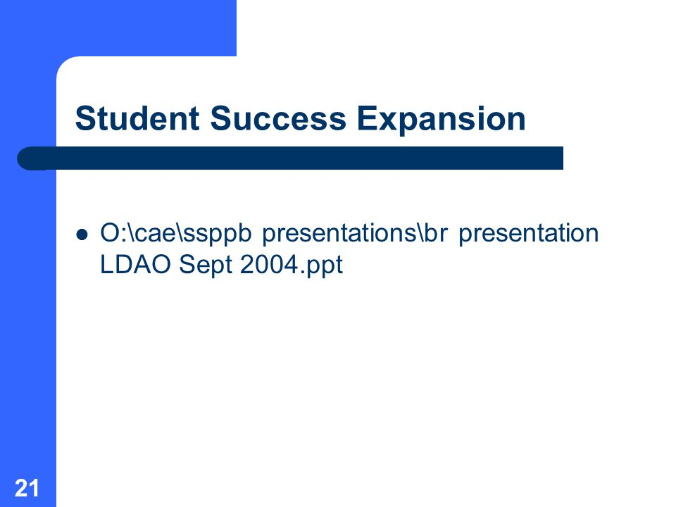 21 Student Success Expansion O:\cae\ssppb presentations\br presentation LDAO Sept 2004.ppt