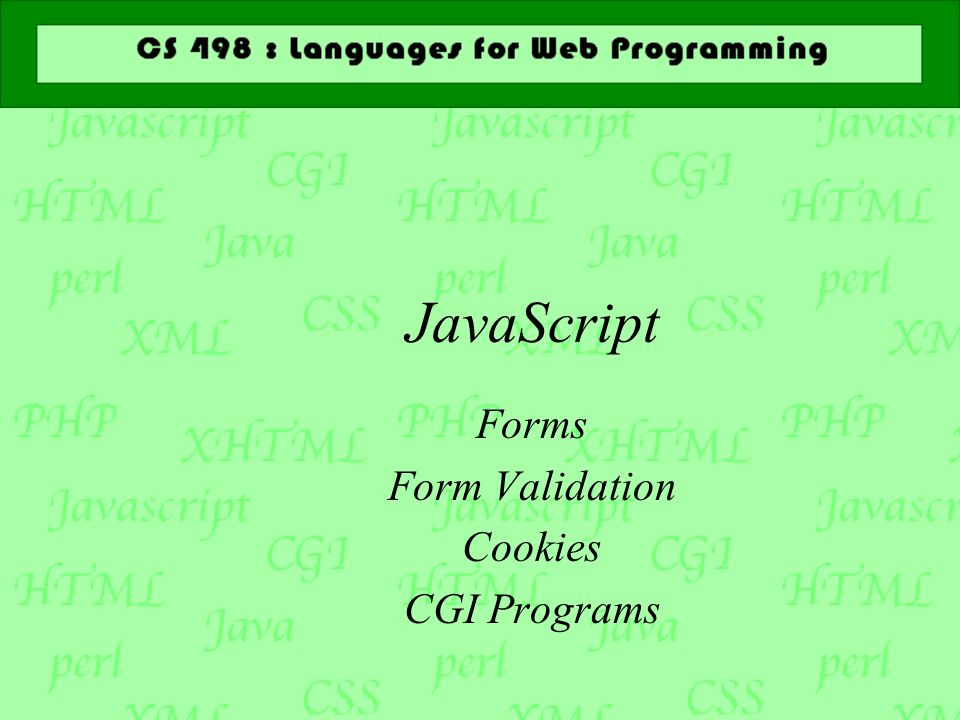 JavaScript Forms Form Validation Cookies CGI Programs