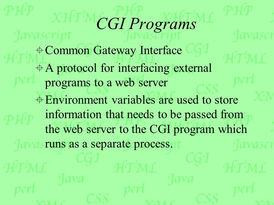 CGI Programs  Common Gateway Interface  A protocol for interfacing external programs to a web server  Environment variables are used to store information that needs to be passed from the web server to the CGI program which runs as a separate process.