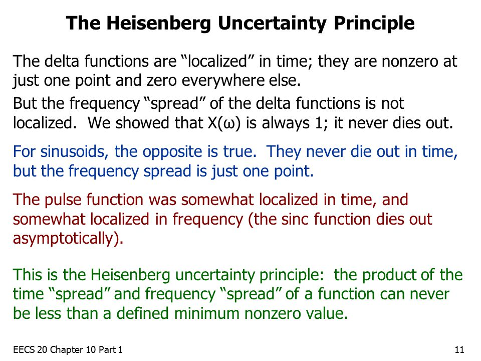 EECS 20 Chapter 10 Part 111 The Heisenberg Uncertainty Principle The delta functions are localized in time; they are nonzero at just one point and zero everywhere else.