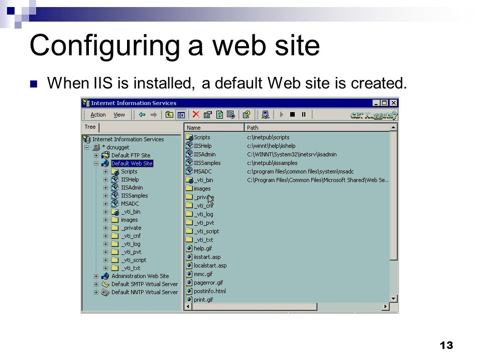 13 Configuring a web site When IIS is installed, a default Web site is created.
