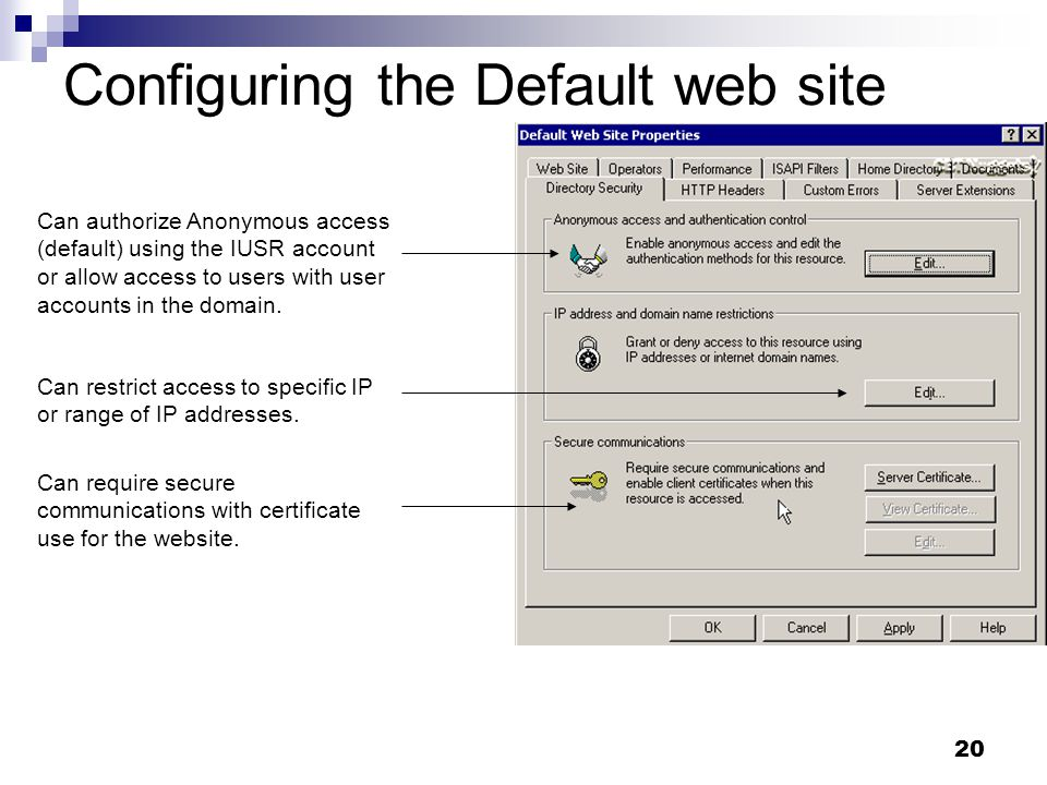 20 Configuring the Default web site Can require secure communications with certificate use for the website.