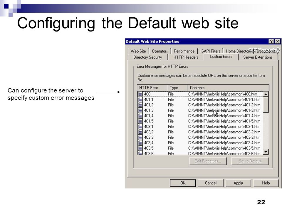 22 Configuring the Default web site Can configure the server to specify custom error messages