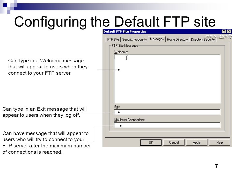 7 Configuring the Default FTP site Can type in a Welcome message that will appear to users when they connect to your FTP server.