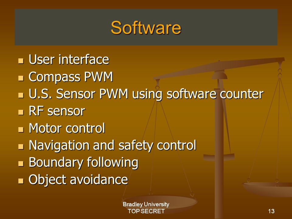 13 Bradley University TOP SECRET Software User interface User interface Compass PWM Compass PWM U.S.