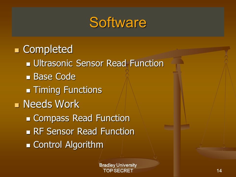 14 Bradley University TOP SECRET Software Completed Completed Ultrasonic Sensor Read Function Ultrasonic Sensor Read Function Base Code Base Code Timing Functions Timing Functions Needs Work Needs Work Compass Read Function Compass Read Function RF Sensor Read Function RF Sensor Read Function Control Algorithm Control Algorithm