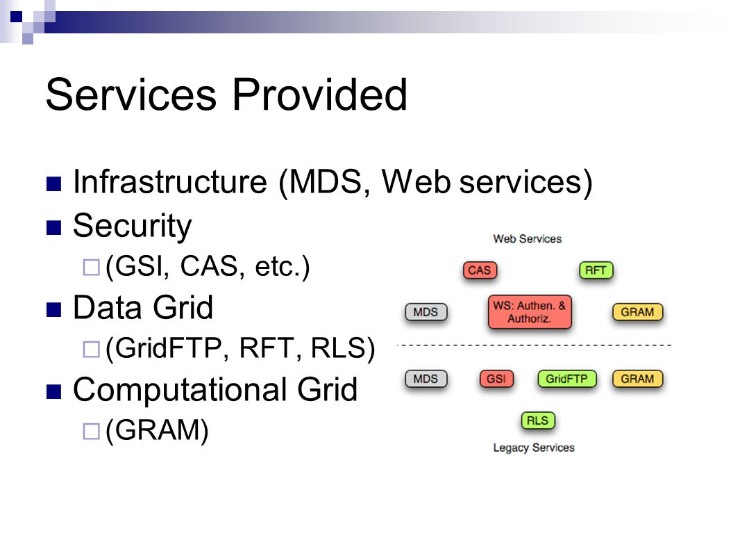 Services Provided Infrastructure (MDS, Web services) Security  (GSI, CAS, etc.) Data Grid  (GridFTP, RFT, RLS) Computational Grid  (GRAM)