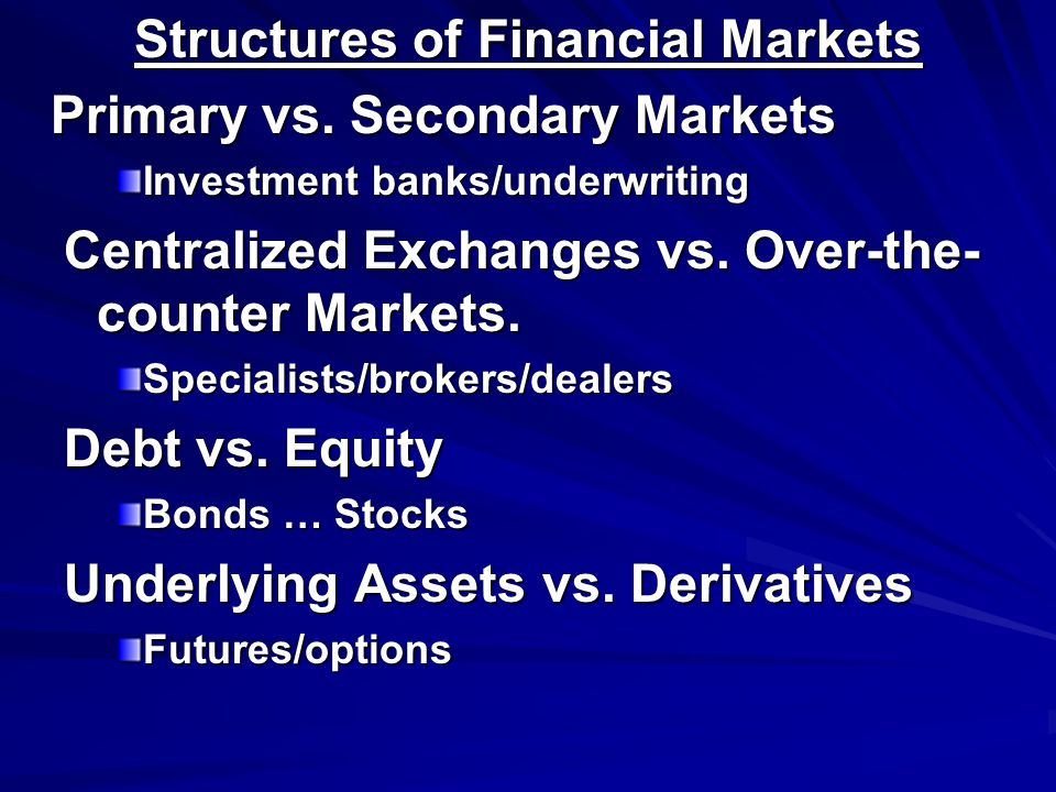 Structures of Financial Markets Primary vs.