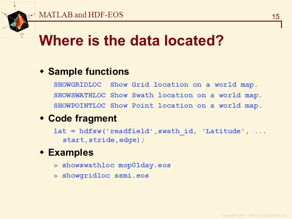 MATLAB and HDF-EOS The MathWorks, Inc  Dr  Steven L  Eddins Image