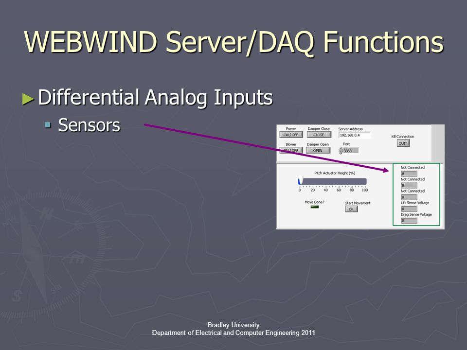 Bradley University Department of Electrical and Computer Engineering 2011 WEBWIND Server/DAQ Functions ► Differential Analog Inputs  Sensors