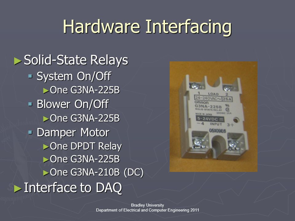 Bradley University Department of Electrical and Computer Engineering 2011 Hardware Interfacing ► Solid-State Relays  System On/Off ► One G3NA-225B  Blower On/Off ► One G3NA-225B  Damper Motor ► One DPDT Relay ► One G3NA-225B ► One G3NA-210B (DC) ► Interface to DAQ