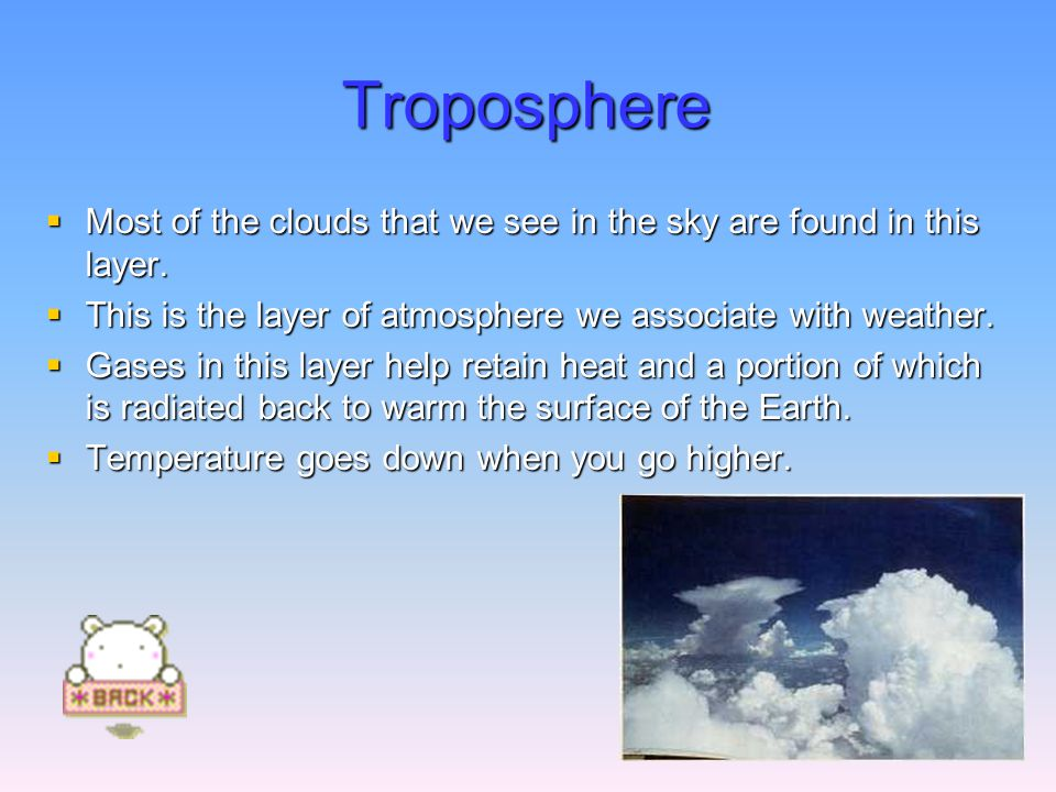 Troposphere  Most of the clouds that we see in the sky are found in this layer.