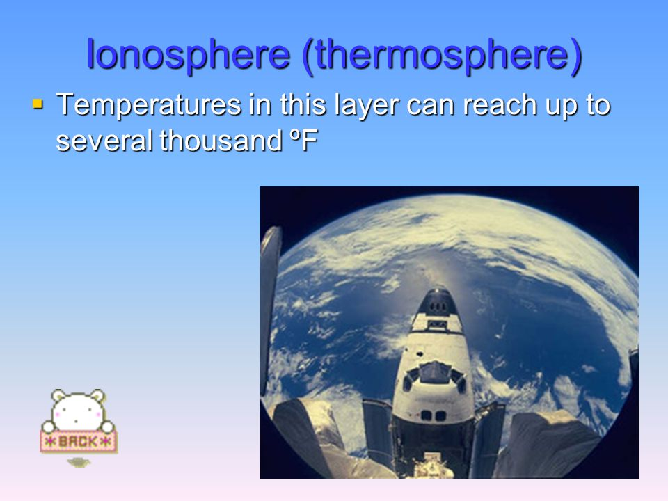 Ionosphere (thermosphere)  Temperatures in this layer can reach up to several thousand ºF