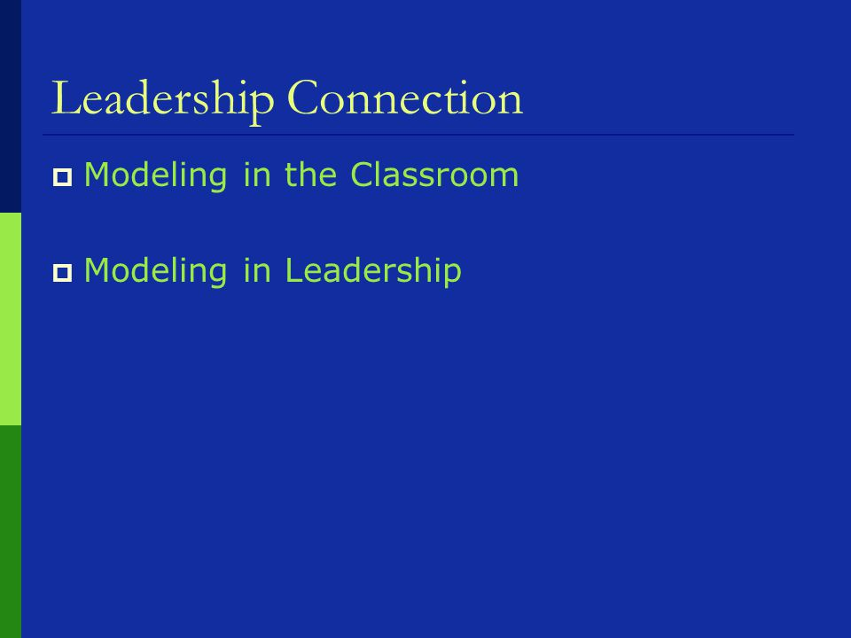 Leadership Connection  Modeling in the Classroom  Modeling in Leadership