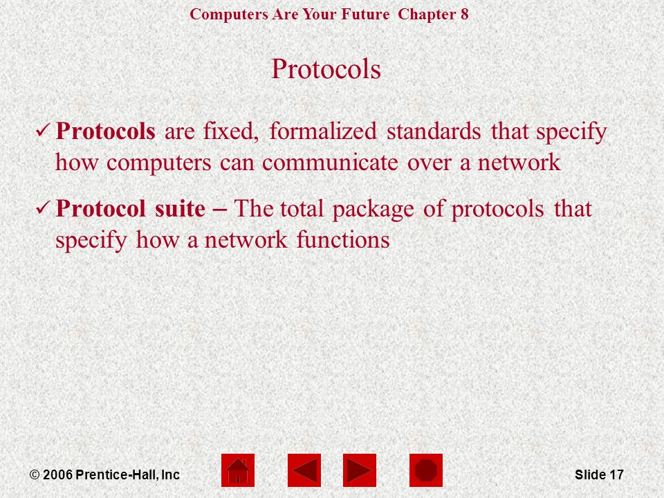 Computers Are Your Future Chapter 8 © 2006 Prentice-Hall, IncSlide 17 Protocols Protocols are fixed, formalized standards that specify how computers can communicate over a network Protocol suite – The total package of protocols that specify how a network functions