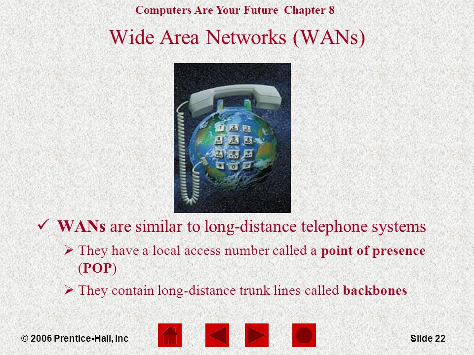Computers Are Your Future Chapter 8 © 2006 Prentice-Hall, IncSlide 22 Wide Area Networks (WANs) WANs are similar to long-distance telephone systems  They have a local access number called a point of presence (POP)  They contain long-distance trunk lines called backbones