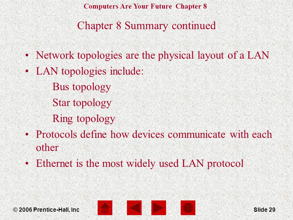 Computers Are Your Future Chapter 8 © 2006 Prentice-Hall, IncSlide 29 Chapter 8 Summary continued Network topologies are the physical layout of a LAN LAN topologies include: Bus topology Star topology Ring topology Protocols define how devices communicate with each other Ethernet is the most widely used LAN protocol