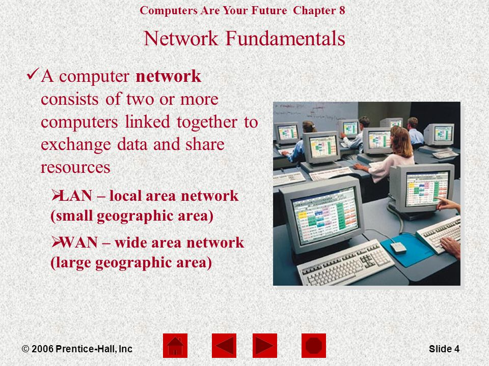 Computers Are Your Future Chapter 8 © 2006 Prentice-Hall, IncSlide 4 Network Fundamentals A computer network consists of two or more computers linked together to exchange data and share resources  LAN – local area network (small geographic area)  WAN – wide area network (large geographic area)