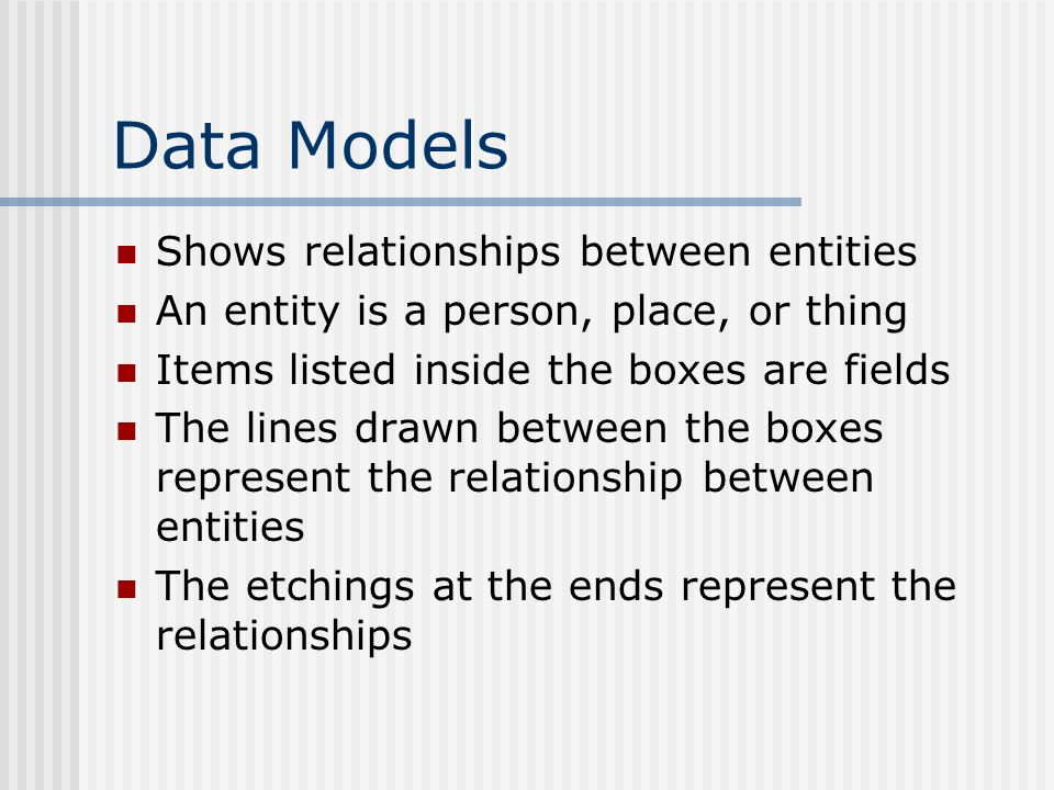 Data Models Shows relationships between entities An entity is a person, place, or thing Items listed inside the boxes are fields The lines drawn between the boxes represent the relationship between entities The etchings at the ends represent the relationships