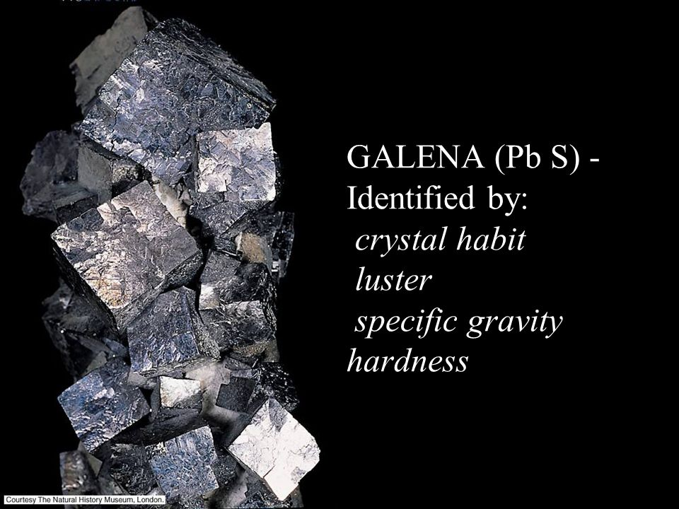 GALENA (Pb S) - Identified by: crystal habit luster specific gravity hardness