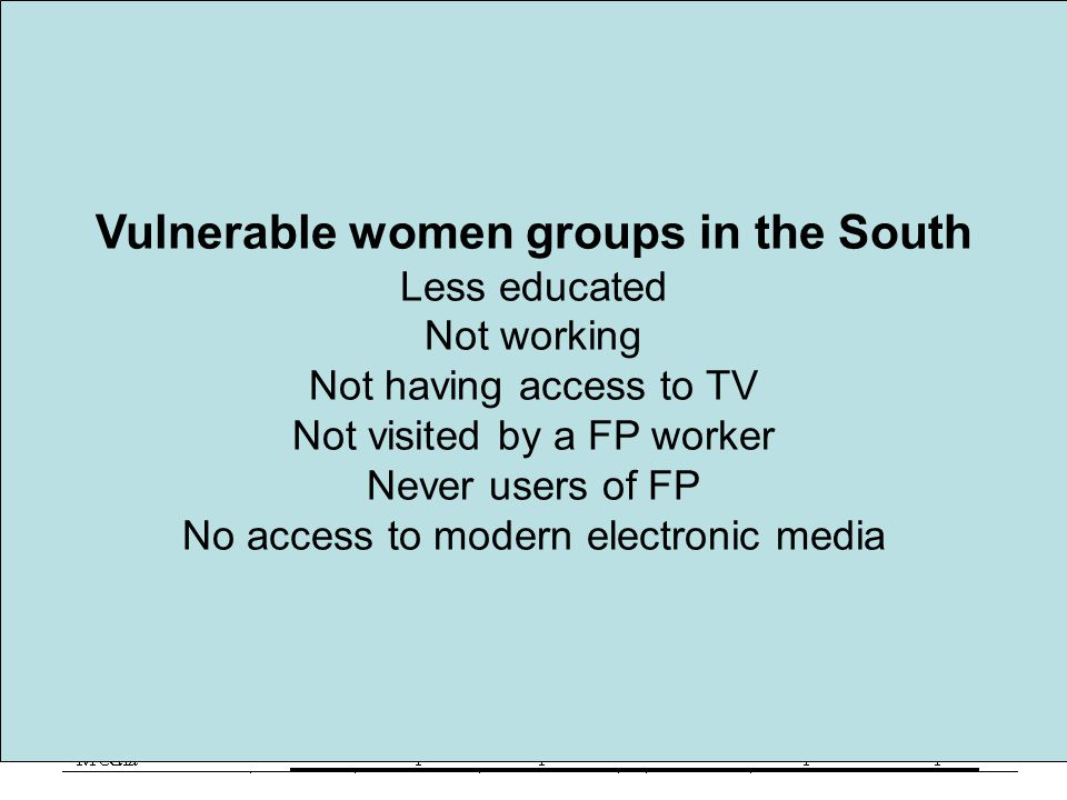 Vulnerable women groups in the South Less educated Not working Not having access to TV Not visited by a FP worker Never users of FP No access to modern electronic media