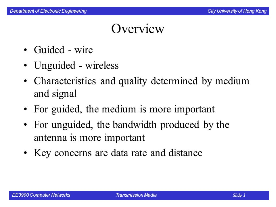 Department of Electronic Engineering City University of Hong Kong EE3900 Computer Networks Transmission Media Slide 1 Overview Guided - wire Unguided - wireless Characteristics and quality determined by medium and signal For guided, the medium is more important For unguided, the bandwidth produced by the antenna is more important Key concerns are data rate and distance