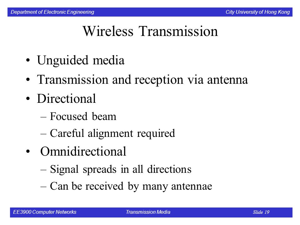 Department of Electronic Engineering City University of Hong Kong EE3900 Computer Networks Transmission Media Slide 19 Wireless Transmission Unguided media Transmission and reception via antenna Directional –Focused beam –Careful alignment required Omnidirectional –Signal spreads in all directions –Can be received by many antennae