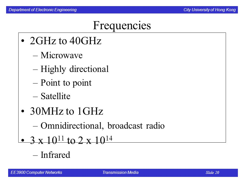 Department of Electronic Engineering City University of Hong Kong EE3900 Computer Networks Transmission Media Slide 20 Frequencies 2GHz to 40GHz –Microwave –Highly directional –Point to point –Satellite 30MHz to 1GHz –Omnidirectional, broadcast radio 3 x to 2 x –Infrared