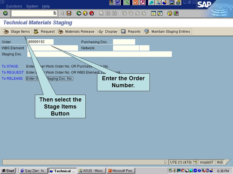 Click to add text Click to add title Enter the Order Number. Then select the Stage Items Button