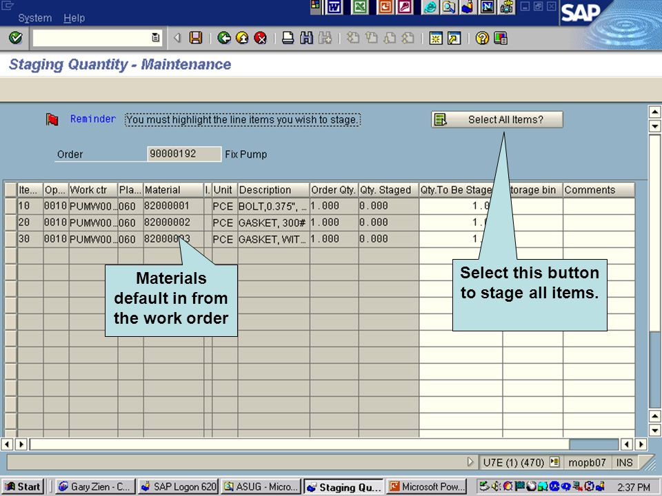 Click to add text Click to add title Materials default in from the work order Select this button to stage all items.