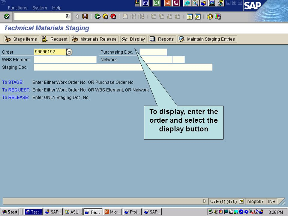 Click to add text Click to add title To display, enter the order and select the display button