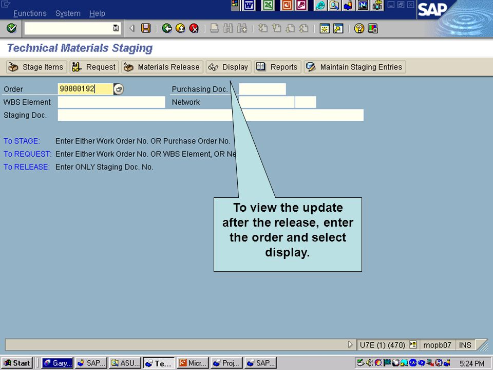 Click to add text Click to add title To view the update after the release, enter the order and select display.