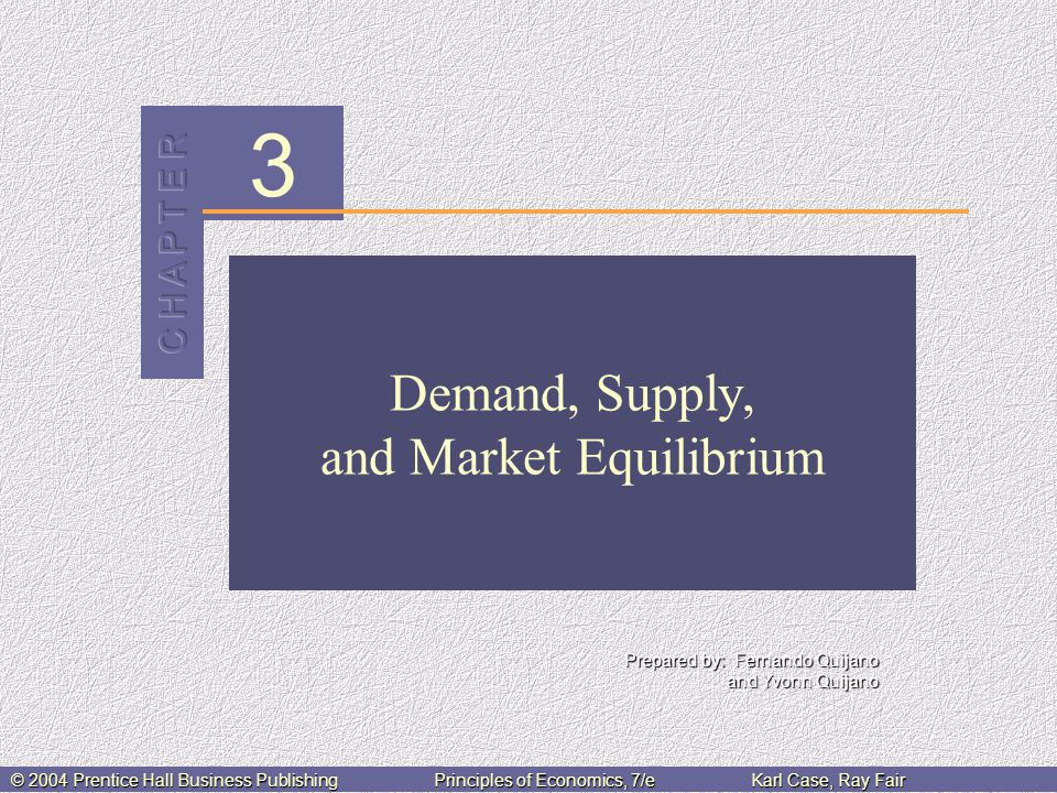 3 Prepared by: Fernando Quijano and Yvonn Quijano © 2004 Prentice Hall Business PublishingPrinciples of Economics, 7/eKarl Case, Ray Fair Demand, Supply, and Market Equilibrium