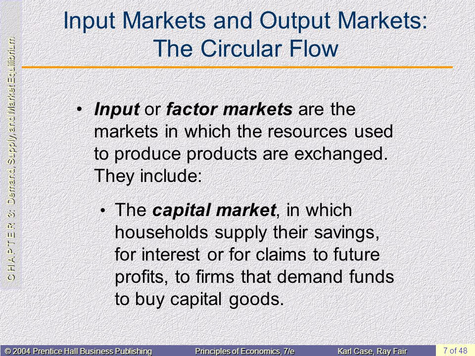 C H A P T E R 3: Demand, Supply, and Market Equilibrium © 2004 Prentice Hall Business PublishingPrinciples of Economics, 7/eKarl Case, Ray Fair 7 of 48 Input Markets and Output Markets: The Circular Flow Input or factor markets are the markets in which the resources used to produce products are exchanged.