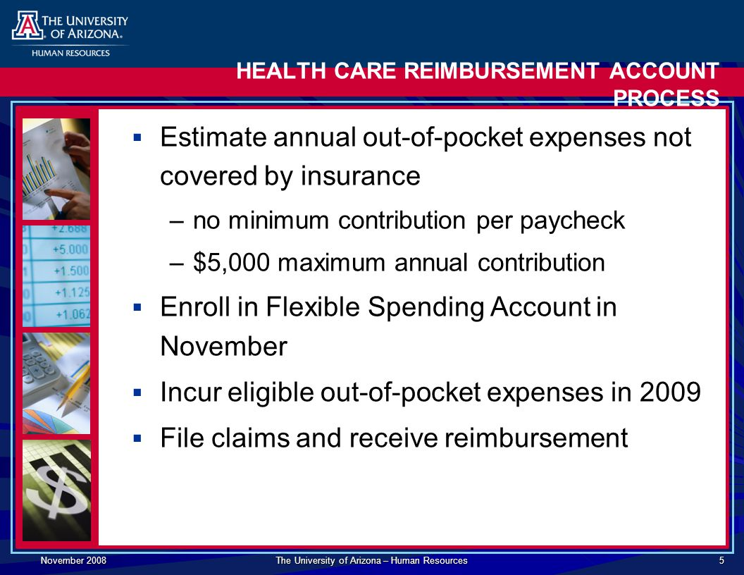 November 2008 The University of Arizona – Human Resources 5 HEALTH CARE REIMBURSEMENT ACCOUNT PROCESS  Estimate annual out-of-pocket expenses not covered by insurance –no minimum contribution per paycheck –$5,000 maximum annual contribution  Enroll in Flexible Spending Account in November  Incur eligible out-of-pocket expenses in 2009  File claims and receive reimbursement