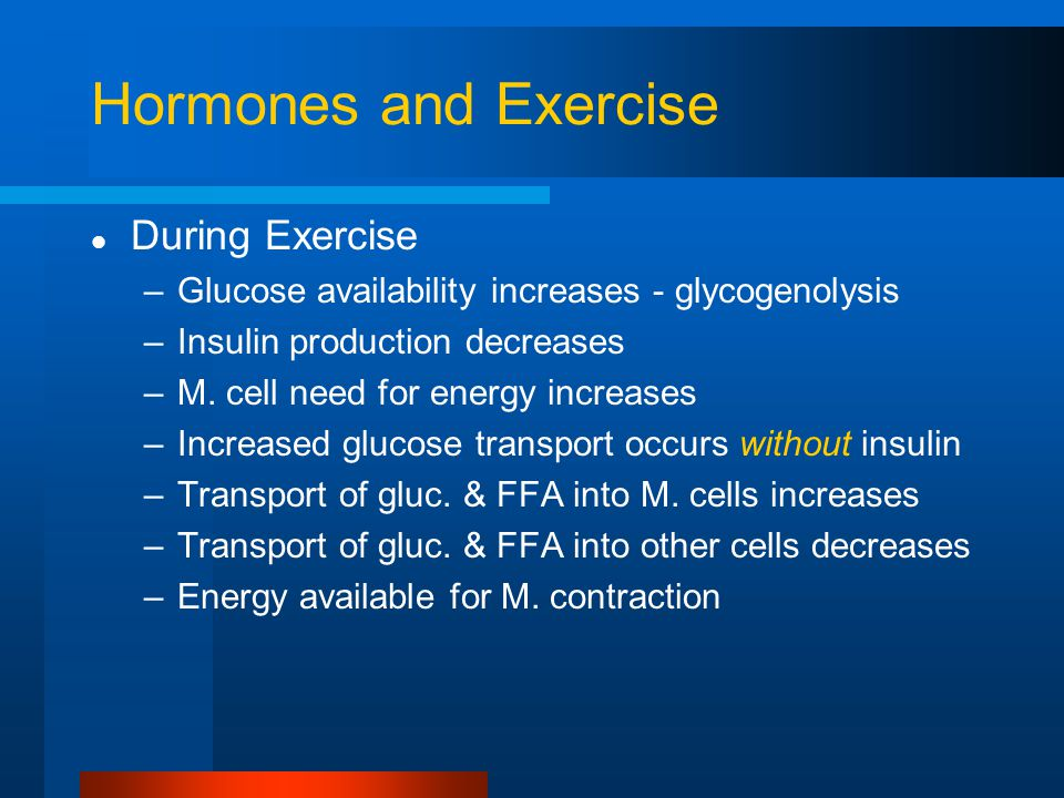 Hormones and Exercise During Exercise –Glucose availability increases - glycogenolysis –Insulin production decreases –M.