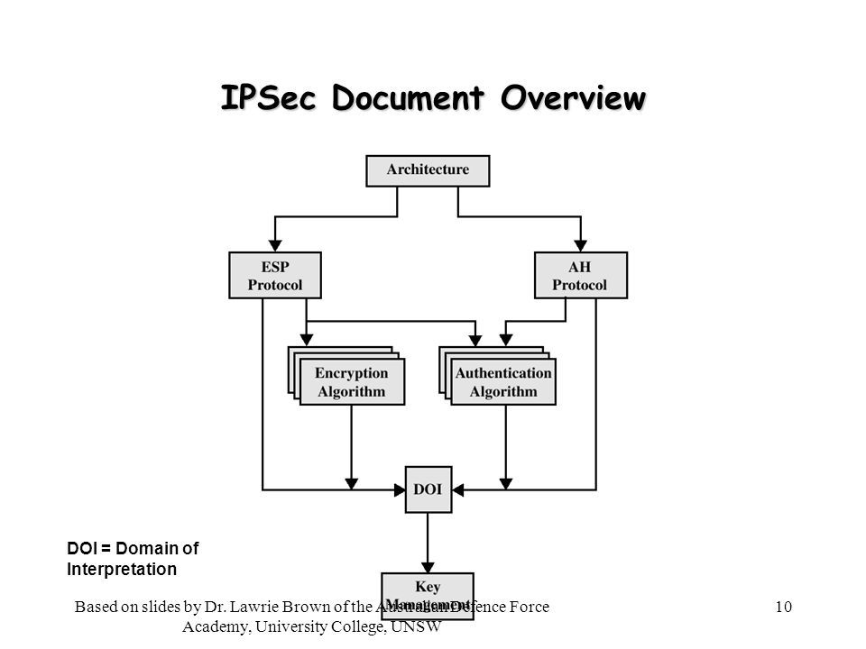 10 IPSec Document Overview DOI = Domain of Interpretation Based on slides by Dr.