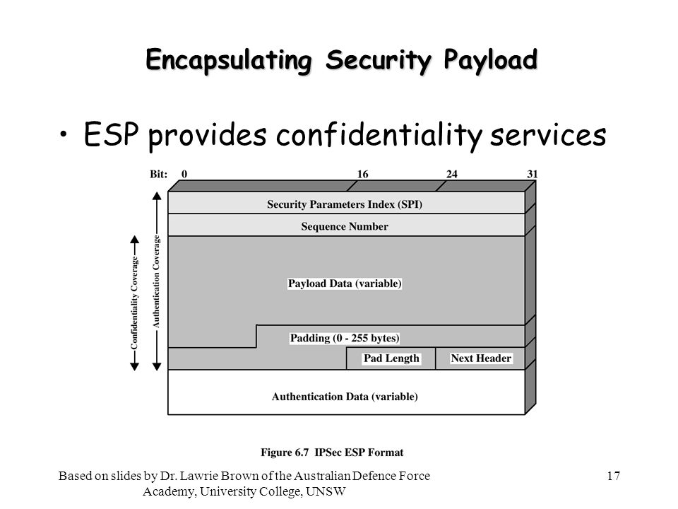 17 Encapsulating Security Payload ESP provides confidentiality services Based on slides by Dr.