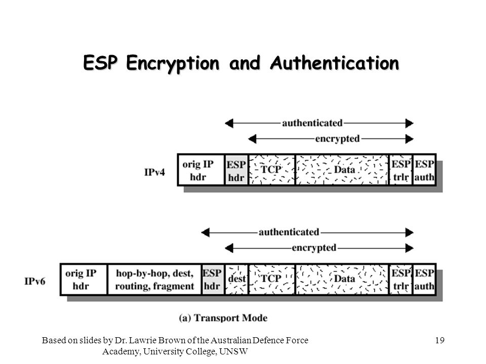 19 ESP Encryption and Authentication Based on slides by Dr.