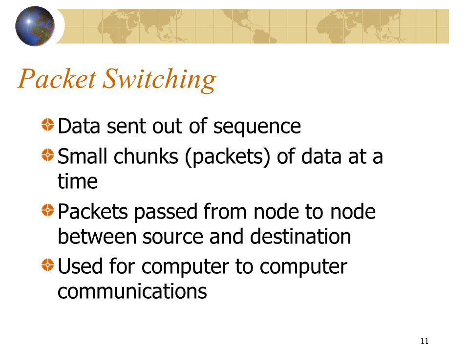 11 Packet Switching Data sent out of sequence Small chunks (packets) of data at a time Packets passed from node to node between source and destination Used for computer to computer communications