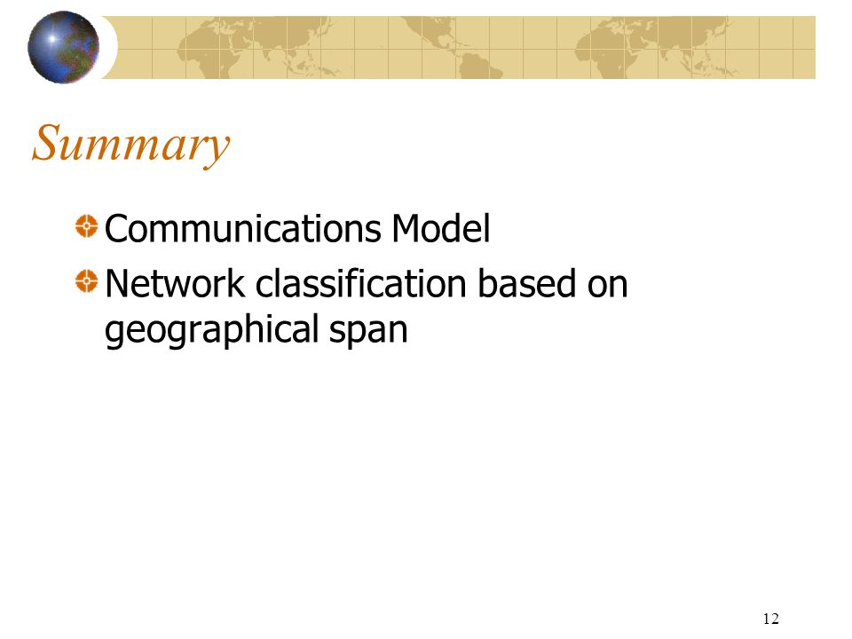12 Summary Communications Model Network classification based on geographical span