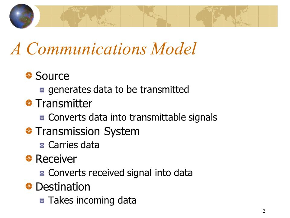 2 A Communications Model Source generates data to be transmitted Transmitter Converts data into transmittable signals Transmission System Carries data Receiver Converts received signal into data Destination Takes incoming data