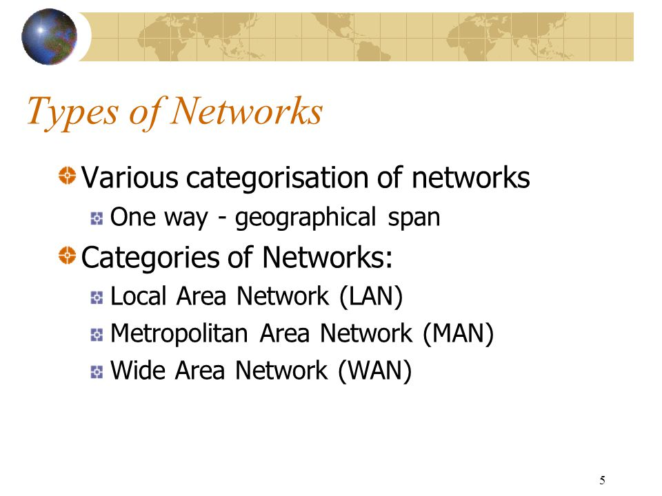 5 Types of Networks Various categorisation of networks One way - geographical span Categories of Networks: Local Area Network (LAN) Metropolitan Area Network (MAN) Wide Area Network (WAN)