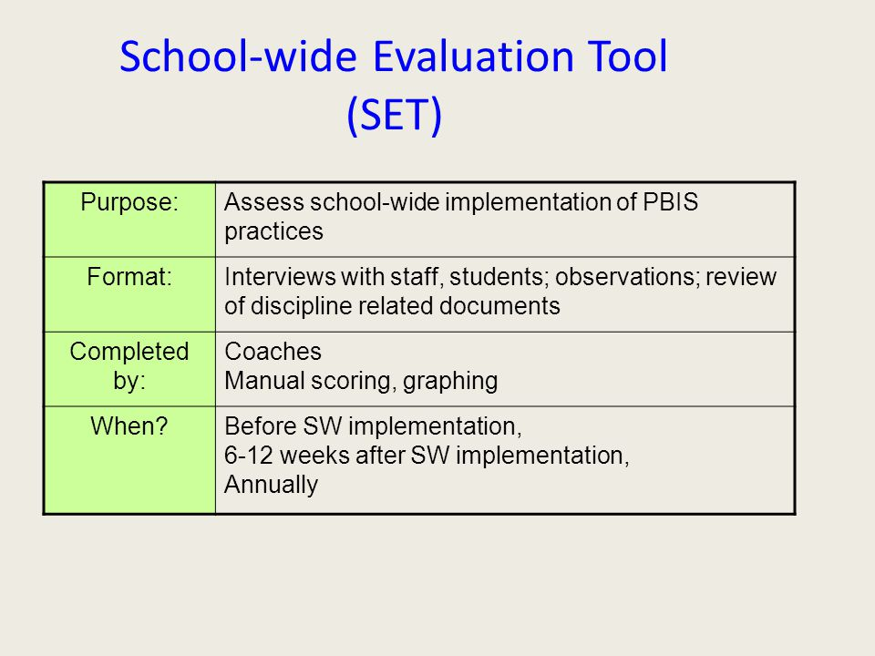 School-wide Evaluation Tool (SET) Purpose:Assess school-wide implementation of PBIS practices Format:Interviews with staff, students; observations; review of discipline related documents Completed by: Coaches Manual scoring, graphing When Before SW implementation, 6-12 weeks after SW implementation, Annually
