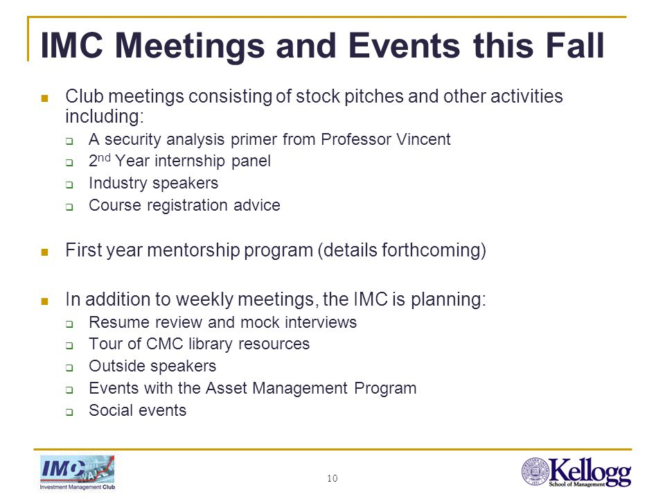 Investment Management Club Kickoff Meeting September 27, ppt