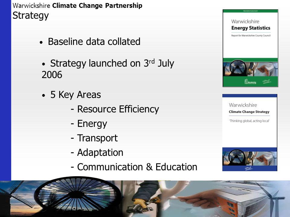 Baseline data collated Strategy launched on 3 rd July Key Areas - Resource Efficiency - Energy - Transport - Adaptation - Communication & Education Warwickshire Climate Change Partnership Strategy